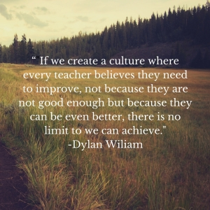 """-If we create a culture where every teacher believes they need to improve, not because they are not good enough but because they can be even better, there is no limit to what we can achieve.-"